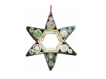 Recycled Paper 6 Point Star Ornament