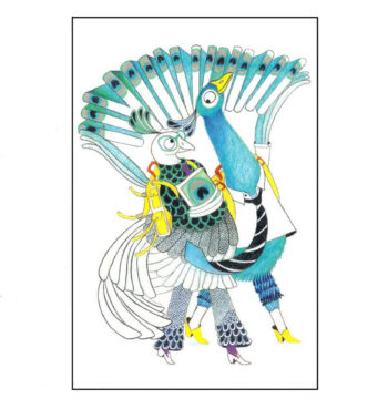 Illustrated Peacocks – Postcard